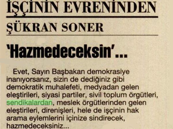 'HAZMEDECEKSİN'…  / ŞÜKRAN SONER