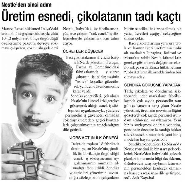ÜRETİM ESNEDİ, ÇİKOLATANIN TADI KAÇTI