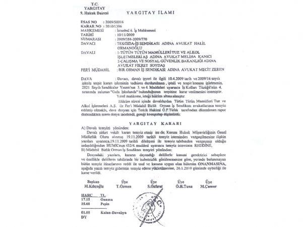 TEKEL'DE YARGITAY'DA TEKGIDA-İŞ DEDİ