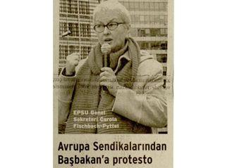 AVRUPA SENDİKALARINDAN BAŞBAKAN'A PROTESTO