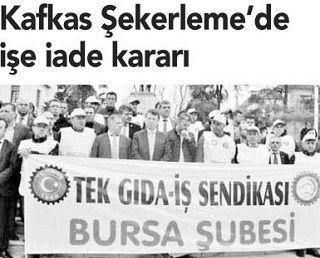 KAFKAS ŞEKERLEME' DE İŞE İADE KARARI