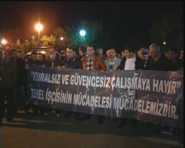 TEKEL İŞÇİLERİNDEN PROTESTO