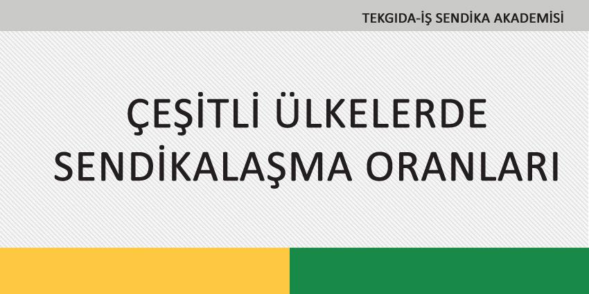 ÇEŞİTLİ ÜLKELERDE SENDİKALAŞMA ORANLARI